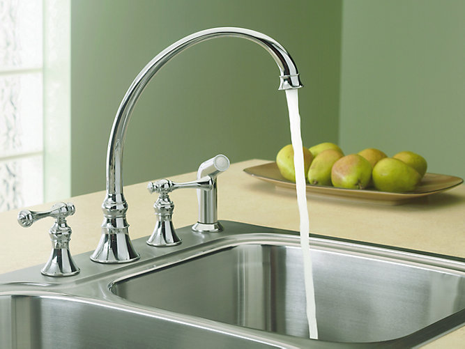 KOHLER | 16109-4A | Revival 4-hole kitchen sink faucet with 9-3/16 ...